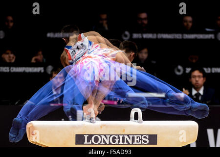 Glasgow, UK. 31st Oct, 2015. MAX WHITLOCK from the United Kingdom won the gold medal on the pommel horse medal during - Stock Photo