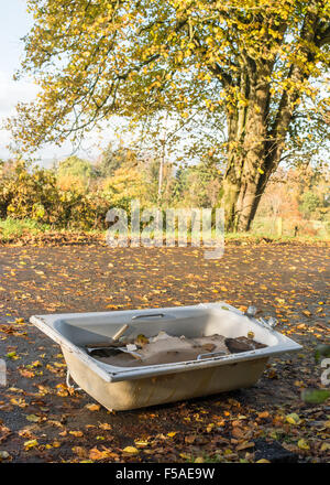bath and builders rubble illegally dumped in beautiful rural lay by in Stirlingshire, Scotland, UK - Stock Photo