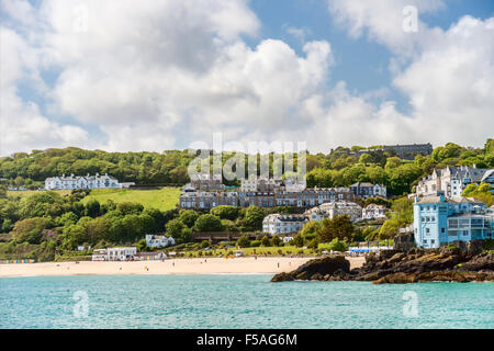 View at Porthminster Beach of St Ives, seen from Smeatons Pier, Cornwall, England, UK - Stock Photo