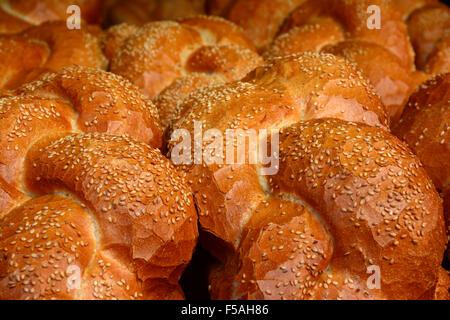 Sesame Chala bread close up - Stock Photo