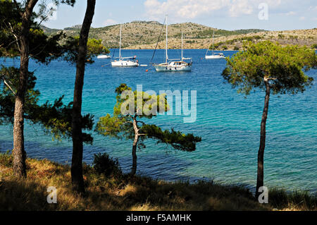 Leisure boats anchored in Nature Park Telascica, a natural bay in Dugi Otok, Zadar County, Croatia - Stock Photo