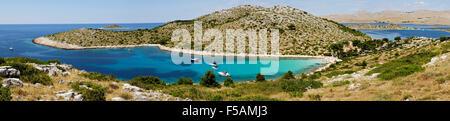 Panoramic view of Lojena bay and beach on Levrnaka island, Kornati archipelago, Dalmatia, Croatia - Stock Photo