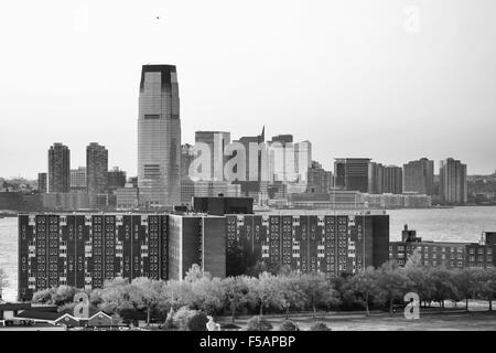 A view of 30 Hudson Street in Jersey City with the Governors island in the Upper New York Bay in New York City, - Stock Photo