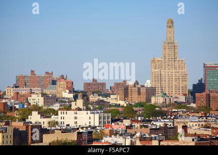 A view of the Williamsburgh Savings Bank Tower and residential buildings in Brooklyn borough in New York City, - Stock Photo