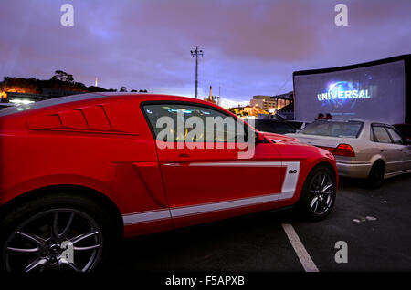 AUCKLAND - NOV 01 2015:Cars in Drive-in theater.Today there is only 400 drive-ins in the United States and 100 exist - Stock Photo