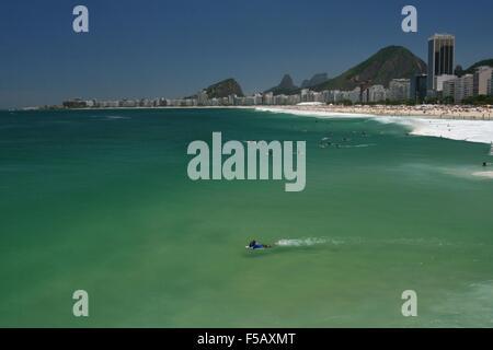 Rio de Janeiro, Brazil, 31 October 2015. Weather in Rio: Leme Beach in a hot and sunny spring day. - Stock Photo