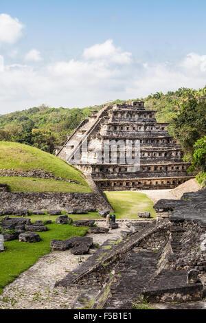 Pyramid of the Niches at the Tajin ruins in Veracruz, Mexico. - Stock Photo
