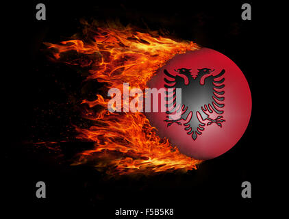 Concept of speed - Flag with a trail of fire - Albania - Stock Photo
