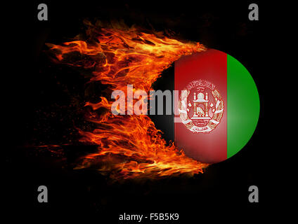 Concept of speed - Flag with a trail of fire - Afghanistan - Stock Photo