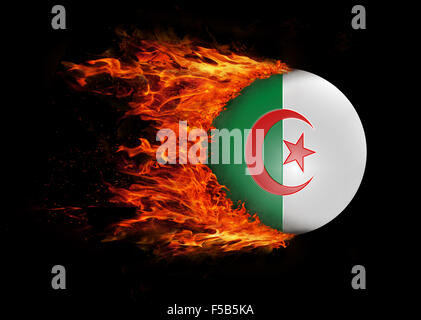 Concept of speed - Flag with a trail of fire - Algeria - Stock Photo