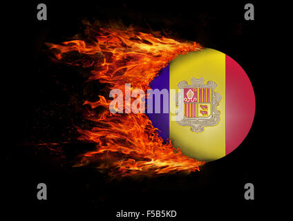 Concept of speed - Flag with a trail of fire - Andorra - Stock Photo