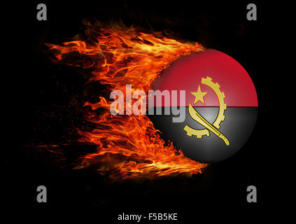 Concept of speed - Flag with a trail of fire - Angola - Stock Photo