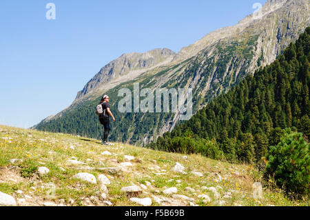 Female hiker in Zillertal alps, Tirol, Austria Model release available - Stock Photo