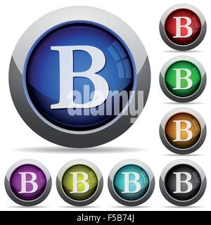 Set of round glossy bold font buttons. Arranged layer structure. - Stock Photo