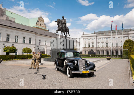Cadillac 355D antique car presentation, Series 30 from 1935, old black vehicle near equestrian statue of Prince - Stock Photo