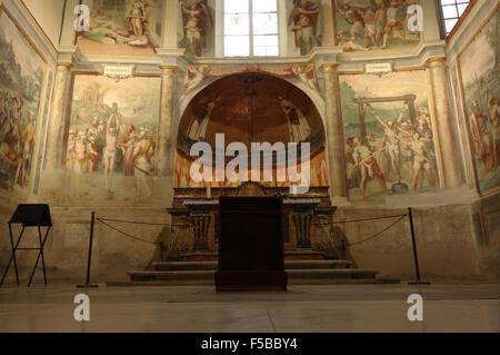 ROME, ITALY - SEPTEMBER 26, 2015: church of Santo Stefano Rotondo, chapel of the Saints Primus and Felician - Stock Photo