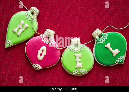 Christmas bauble cookies in red and green - Stock Photo