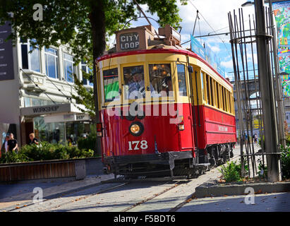 The City Trams Tours of central Christchurch continue to run despite the earthquake -the most violent quake, on - Stock Photo