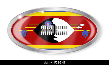 Oval silver button with the Swaziland flag isolated on a white background - Stock Photo