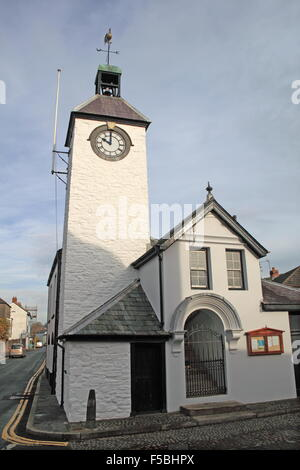 Town Hall, Market Street, Laugharne, Carmarthenshire, Wales, Great Britain, United Kingdom, UK, Europe - Stock Photo