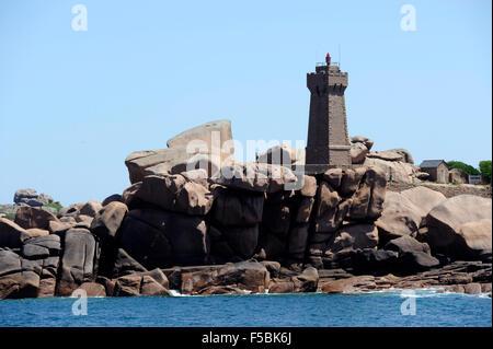 Pink granite coast,Ploumanac'h,phare de Mean Ruz lighthouse,Cotes-d'Armor,Tregor,Bretagne,Brittany,France - Stock Photo