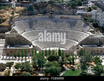 Roman amphitheater in Amman - Stock Photo