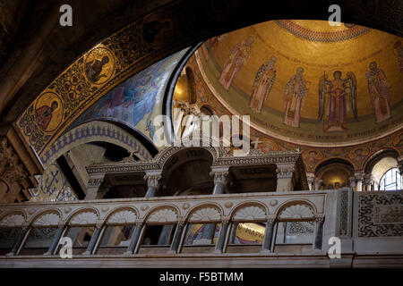 Upward view of the dome of the Catholicum or Catholicon chamber at the the Church of Holy Sepulchre in the Christian - Stock Photo