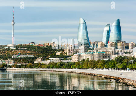 Baku Bay and the Baku skyline and promenade. - Stock Photo