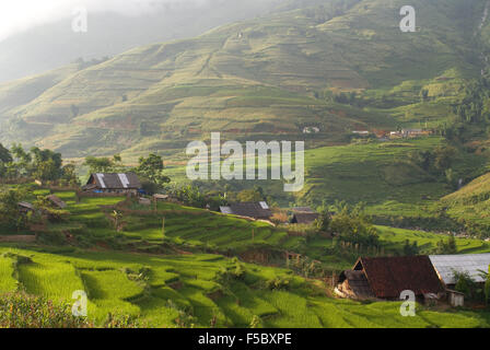 Sunset in the rice terraces nearby of Lao Chai village. Trekking Sapa to Lao Chai. Vietnam. - Stock Photo