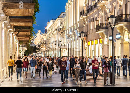 Pedestrians on Nizami street in central Baku. The street is named after classical poet Nizami Ganjavi. - Stock Photo