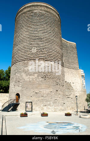 Maiden Tower in the old town of Baku, the capital of Azerbaijan. - Stock Photo
