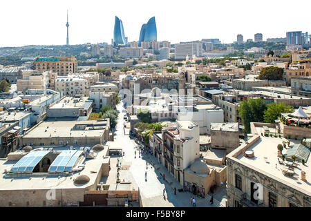 View from Maiden Tower of the old town and skyline of Baku, the capital of Azerbaijan. - Stock Photo
