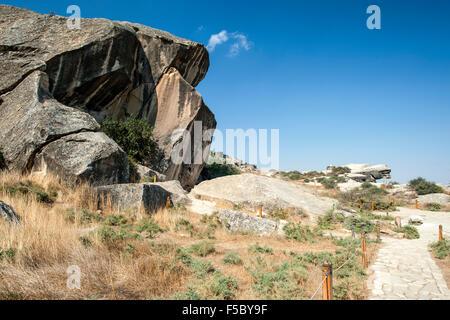 Gobustan National Park in Azerbaijan. - Stock Photo