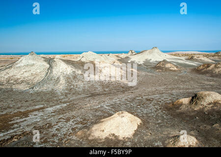 Mud volcanoes in Gobustan National Park in Azerbaijan. - Stock Photo