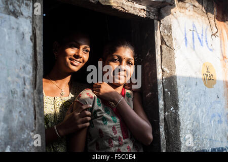 Vizhinjam Christian fisherman village in Kerala, India, November 2014. Young unmarried Christian women - Stock Photo
