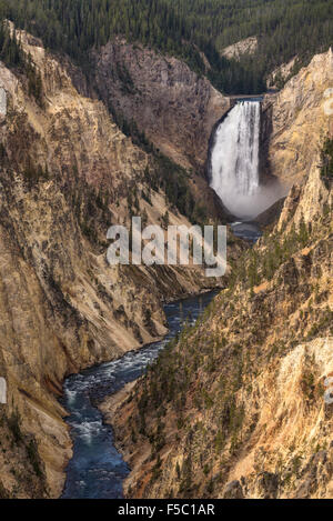 Lower Falls of the Yellowstone River and the Grand Canyon of the Yellowstone from Artist Point; Yellowstone National - Stock Photo