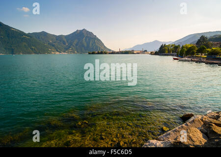 In the picture a view of Lake Iseo from the town of Lovere, Italy. - Stock Photo
