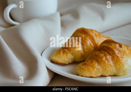 Butter Croissant for Tea Break - Stock Photo