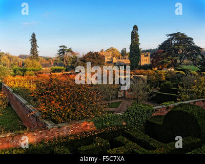 A beautiful Autumn scene at Hampton Court Castle, Gardens and Parkland in the beautiful Herefordshire countryside. - Stock Photo