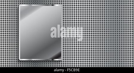 Metal panel with small holes and a metal plate.Vector - Stock Photo