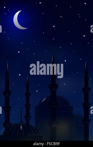 Mosque on the background of night sky.Vector - Stock Photo