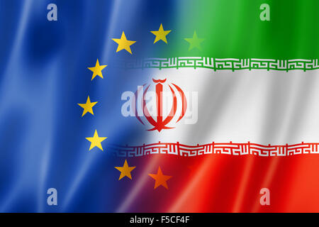 Mixed Europe and Iran flag, three dimensional render, illustration - Stock Photo