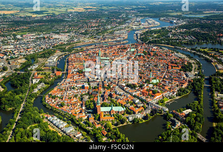 Old Town of Lübeck with river Trave and river Obertrave - Stock Photo