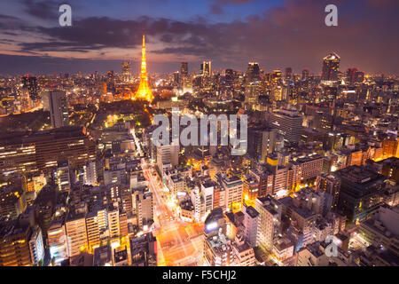 The skyline of Tokyo, Japan with the Tokyo Tower photographed at dusk. - Stock Photo