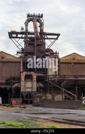 Blast furnace at Redcar Steelworks in Cleveland England shut down and abandoned October 2015 - Stock Photo