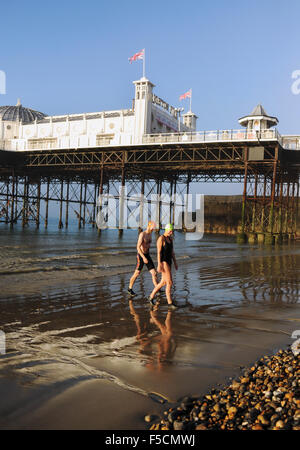 Brighton Sussex UK Monday 2nd November 2015 - Members of Brighton Swimming Club emerge from the sea and the misty - Stock Photo