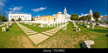 Town of Zadar Forum square panorama, Dalmatia, Croatia - Stock Photo