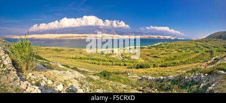Island of Pag Metajna bay panorama, Dalmatia, Croatia - Stock Photo
