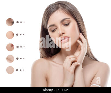 Portrait of girl woman with problem and clear skin, youth concept - Stock Photo