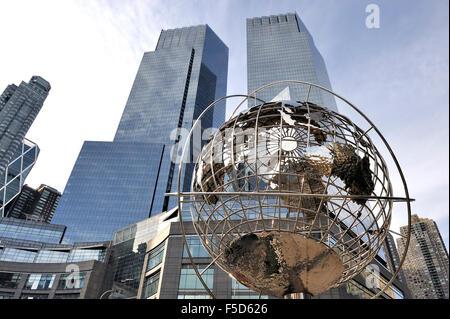 New York,USA-November 15,2012; Globe at Columbus Circle, Manhattan, New York. November 15,2012,New York - Stock Photo